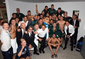 ROME, ITALY - OCTOBER 12:  Players of Italy celebrate at the end of the UEFA Euro 2020 qualifier between Italy and Greece on October 12, 2019 in Rome, Italy.  (Photo by Claudio Villa/Getty Images)