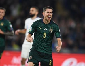 ROME, ITALY - OCTOBER 12:  Jorginho of Italy celebrates after scoring the opening goal during the UEFA Euro 2020 qualifier between Italy and Greece on October 12, 2019 in Rome, Italy.  (Photo by Claudio Villa/Getty Images)